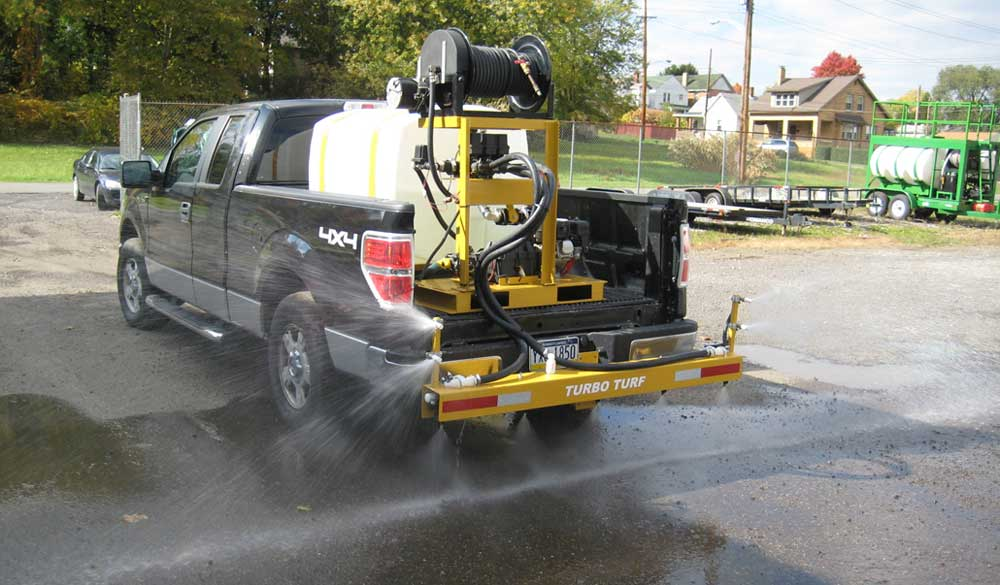 Turbo Turf's 200 gallon brine sprayer with a 3 lane boom