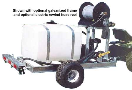 Pull type brine sprayer with gas engine and hose reel